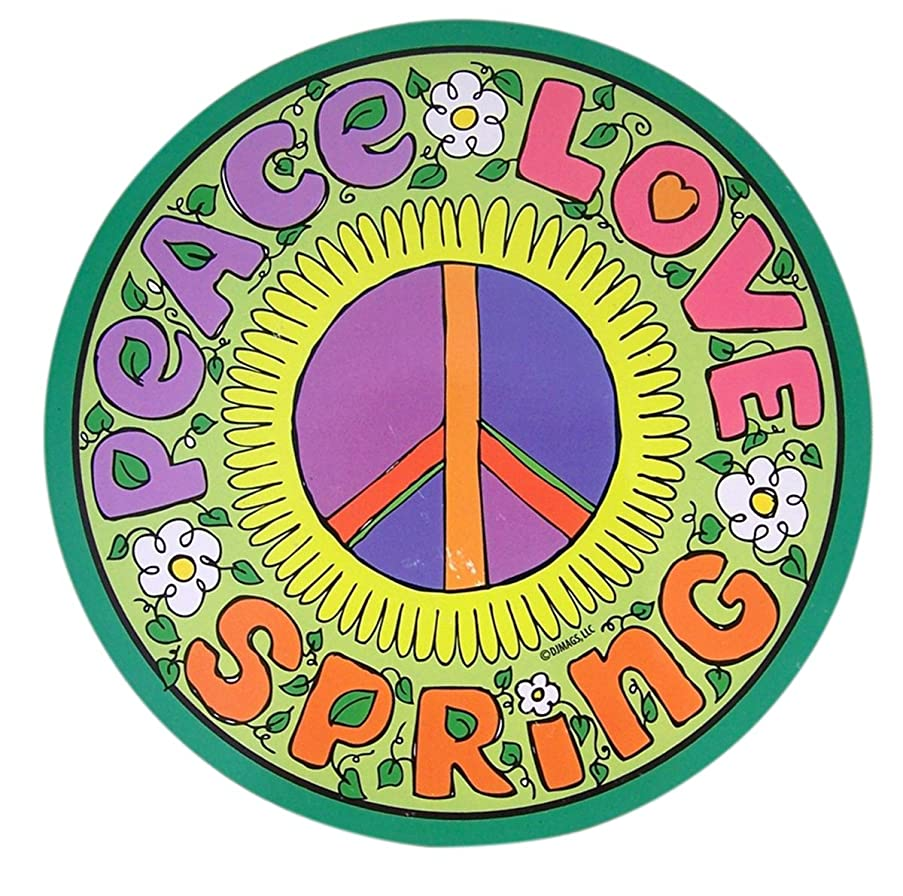 Mad Mags Peace Love Spring Floral Round Car Magnet Decal, 5 3/4 Inch