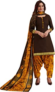 S Salwar Studio Women's Brown & Gold Cotton Printed Readymade Patiyala Suit Set-SSCELEBRATION-1020