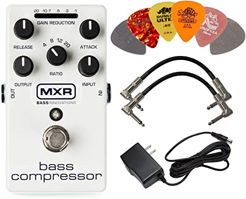 wholesale MXR M87 Bass Compressor Effects Pedal new arrival BUNDLE with AC/DC lowest Adapter Power Supply for 9 Volt DC 1000mA, 2 Metal-Ended Guitar Patch Cables AND 6 Assorted Dunlop Guitar Picks outlet online sale