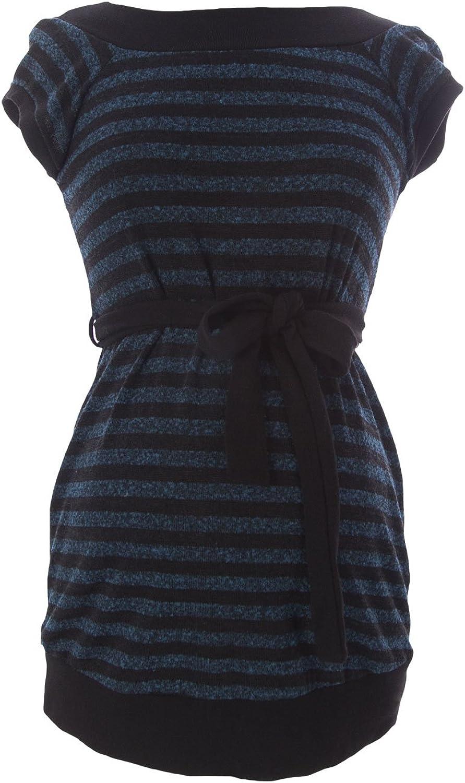 JULES & JIM Maternity Women's Striped Belted Sweater, Medium, Teal Black