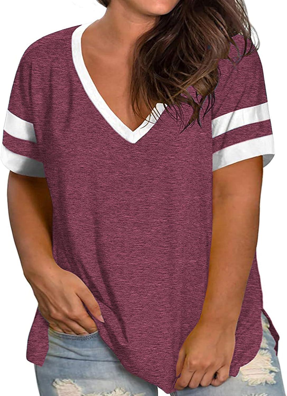 VISLILY Womens Plus-Size Tops V Neck Summer T Shirts Striped Short Sleeve Tunic