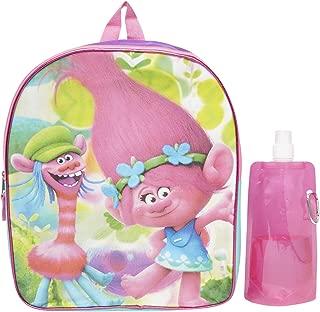 Dreamworks Trolls Backpack Combo Set - Trolls Girls 3 Piece Backpack Set - Backpack, Water Bottle and Carabina (Trolls)
