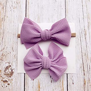 FairOnly 2 PCS Cute Kids Girl Baby Headband Infant Newborn Child Flower Bow Hair Band Accessories with Toddlers Hair Clips Purple for Kids Baby