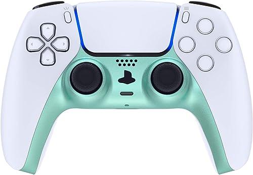 eXtremeRate Coque décorative pour manette de PS5 - Vert métallisé Vista - Clip de rechange - Plaques personnalisées p...