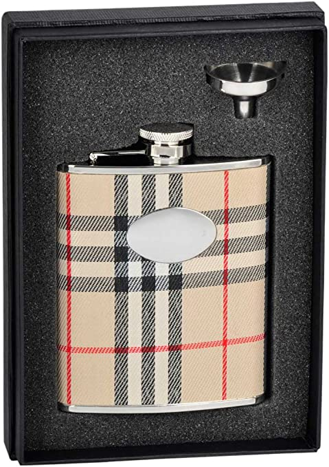 Amazon Com Visol Gabriella Plaid Wrapped Stainless Steel Stellar Flask Gift Set 6 Ounce Chrome Alcohol And Spirits Flasks Flasks