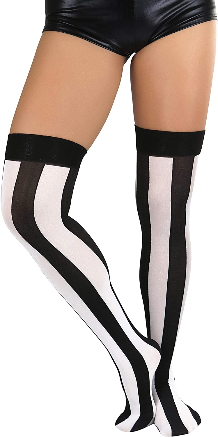 ToBeInStyle Women's Wide Vertical Striped Thigh High Halloween Party Novelty Stockings