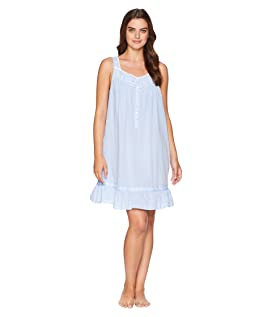 Embroidered Chambray Short Chemise