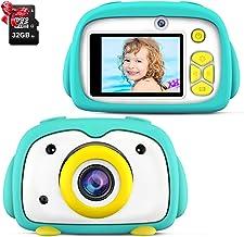 ShinePick Camara Digital Niños, 12MP / 2 Lentes de Cámara / 1080P / 32GB Tarjeta / Zoom Digital de 4X / Tarjeta de Memoria / 2