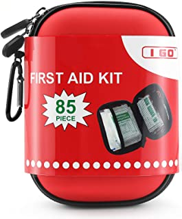 I GO 85 Pieces Hard Shell Mini Compact First Aid Kit, Small Personal Emergency Survival Kit for Travel Hiking Camping Back...