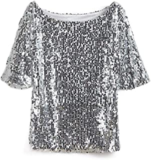RDHOPE Women's Relaxed Casual Slim Fit Plus Size Fit Sequin Pocket Top