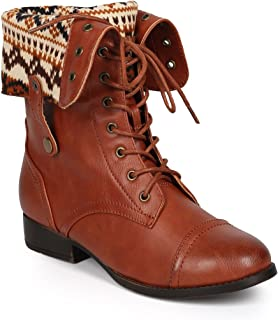 DbDk CI81 Women Distressed Leatherette Tribal Fold-Over Combat Boot - Cognac