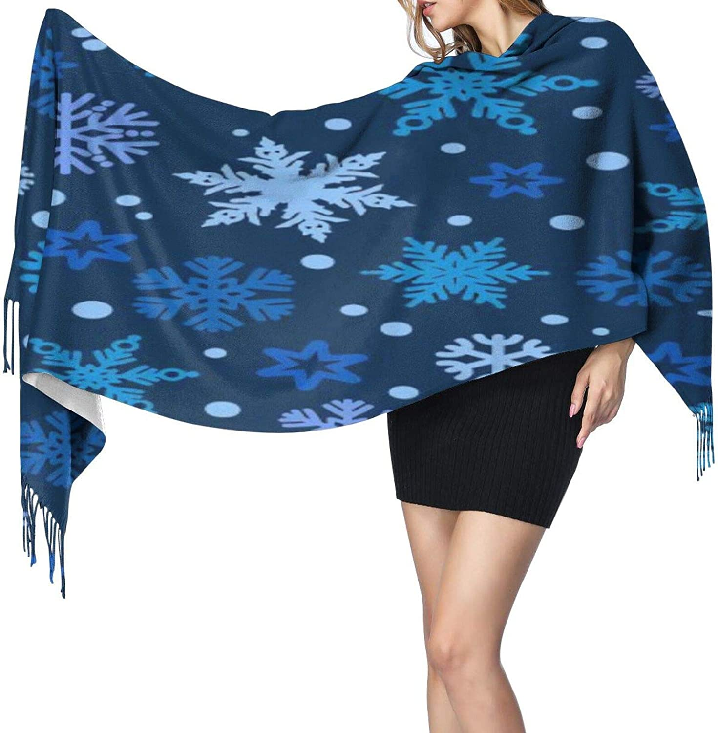 Cashmere fringed scarf Blue Christmas different snowflake winter extra large scarf