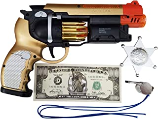Imprints Plus Bundle Blade Runner Gold-Tone Toy Gun 7-Piece Bundle Includes LED Light-Up Machine Pistol with Realistic Gunfire Sounds for Dress-Up and Costume Accessories ( Batteries Included)