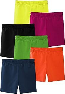 Ruisita 6 Pack Girls Dance Shorts Bike Shorts Playground Shorts Breathable and Safety 100% Cotton