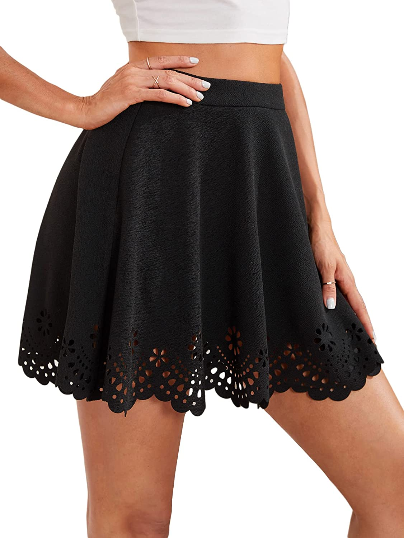 Romwe Women's Casual Ruffle Flared Hollow Out Zipper Side Mini Skater Skirt