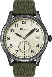 Hugo Boss Men'S Yellow Dial Green Canvas & Black Leather Watch - 1513670
