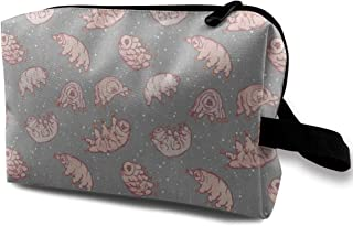 Tardigrades In Space Grey Travel Makeup Cute Cosmetic Case Organizer Portable Storage Bag for Women