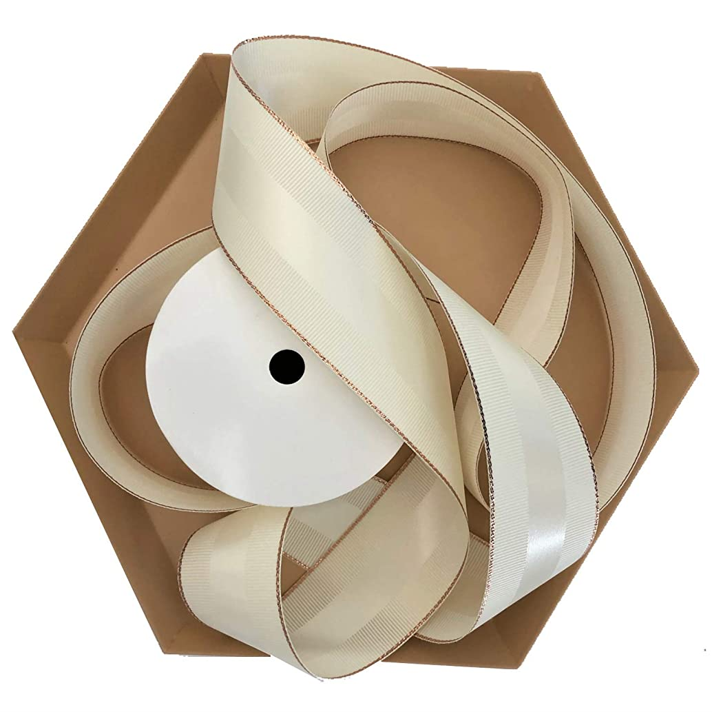Antique White & Rose Gold Grosgrain Ribbon 1 1/2 inch, 30 Yards, 10 Yards Per Roll, 3 Rolls | Double Face, 1.5 Inch, Premium Fabric Ribbon with Metal Trim | for Gifts, Party Favors, Baby Showers tbpbbogzm