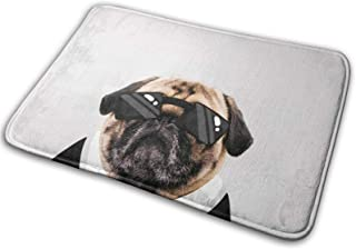 Pug Dog with Drawn Suit Bath Mat Polyester Front Door Mat BathroomRugsカーペットinInside Outdoor 15.7 X 23.5 in