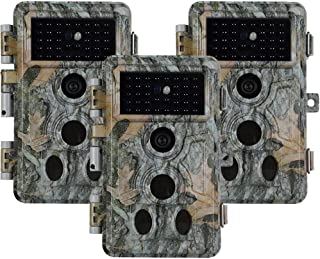 3pcs Hunting Camera Wildlife Camera Trail Cam 20MP 1080P H.264 Video 0.1s Trigger Time Night Vision Motion Activated IP66 ...