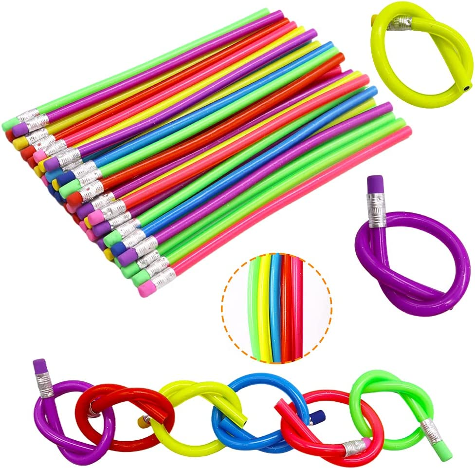 Max 67% OFF 36 PCS Flexible Bendy Pencils with Soft Erasers quality assurance Colorful