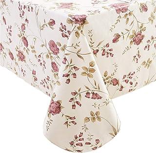 رومیزی وینیل سنگین با روکش فلانل ضد آب ضد آب ضد زنگ پارچه پی وی سی مستطیل قابل پاک شدن یا پوشش میز مربع برای فضای داخلی و فضای باز (گلها ، 60 اینچ 60 اینچ)