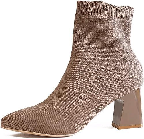 SFSYDDY Chaussures Populaires A Haute 5 Cm à Court De Bottes De Bonneterie Non élastique De Tissu épais Tube Au Moyen De Neige Et De Talon Haut Maman Dingxue.