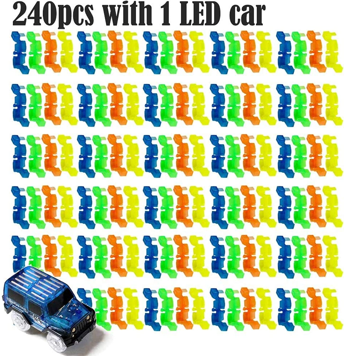 Generic DIY Toys for Flexible Track Electronics Racing Car Toys with Flashing Lights Model Car Toys for Kid Flash in The Dark 240pcs with 1 car