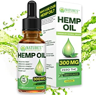 Organic Hemp Oil Extract Drops 300mg - Ultra Premium Pain Relief Anti-Inflammatory, Stress & Anxiety Relief, Joint Support...