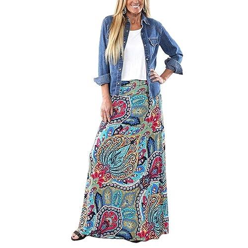 baa94e79c6 Yinggeli Women's Bohemian Print Long Maxi Skirt