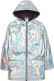 Lora Dora Girls Hooded Iridescent Raincoat Jacket - Silver