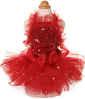 MaruPet Fashion Sweet Puppy Dog Bling Bling Printed Princess Skirt Pet Dog Lace Cake Camisole Tutu Dress