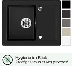 /Évier integr/é Noir avec Mitigeur 5000 Ibiza /Évier de Cuisine Pour les Meubles /à Partir de 45cm avec Trop-Plein et Bec Pivotant /à 360/° /Évier de Cuisine en Granit avec siphon et robinet