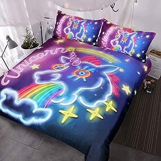 BlessLiving Galaxy Unicorn Duvet Cover 3 Piece Cosmic Rainbow Bedding Unicorn Doona Cover Queen Size