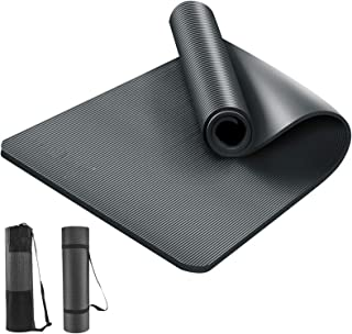 LEEPWEI ヨガマット トレーニングマット エクササイズマット おりたたみ ヨガ ピラティス マット 厚さ 10mm 軽量 耐久性 肌に優しい 高密度 ニトリルゴム 滑り止め 防音マット 筋トレ ストラップ 収納マットバッグ