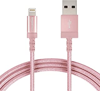 AmazonBasics Nylon Braided Lightning to USB A Cable - Apple MFi Certified iPhone Charger - Rose Gold, 3-Foot