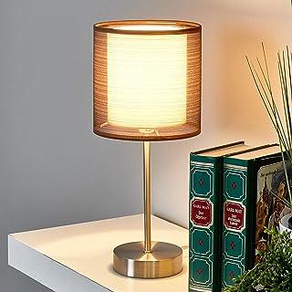 Lámpara de mesa 'Nica' (Moderno) en Gris hecho de Textura, Tela, Tejido, Seda e.o. para Salón & Comedor (1 llama, E14, A++) de LINDBY | lámpara de mesa textil
