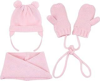 UNDER ZERO UO Toddler Girl's Winter Pink Knitted Hat Scarf Mittens Set (M)