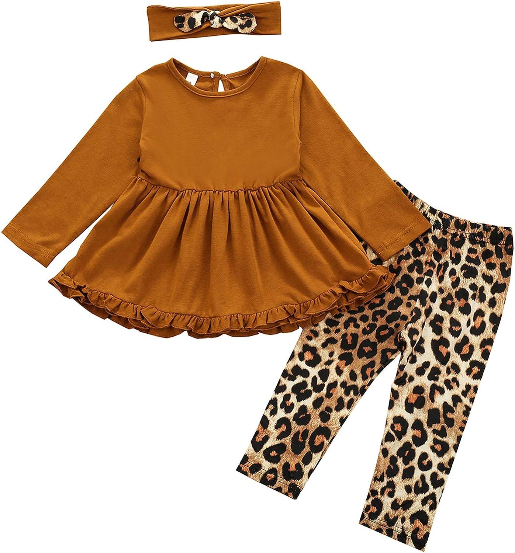 Toddler Kid Baby Girls Clothes Long Sleeve T-Shirt Dress Top Leggings Pants Set Headband 3Pcs Fall Winter Outfits