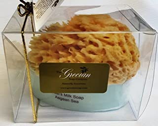 The Grecian Soap Company Goat's Milk and Olive Oil Soap with Embedded Sea Sponge, Aegean Sea