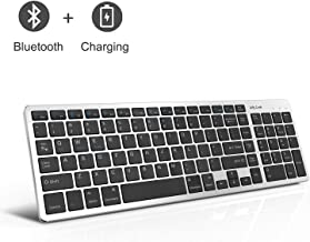 Bluetooth Keyboard, Jelly Comb Rechargeable Slim BT Wireless Keyboard with Number Pad Full Size Design for Laptop Desktop PC Tablet, Windows iOS Android-Black and Silver