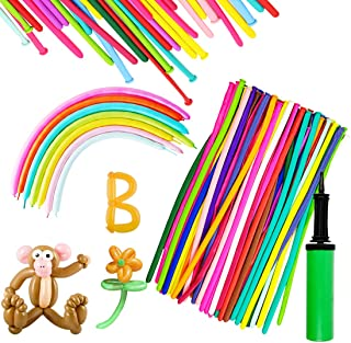 150PCS Latex Twisting Balloons, 260Q Assorted Color Magic Long Balloons with Pump for Animal Shape Party, Clowns, Wedding ...
