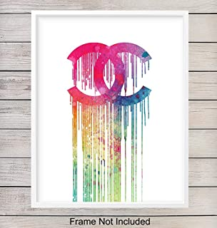 Chanel Art Print - Watercolor Wall Art Poster - Great Gift for Women, Girls, Teens, Coco Fans, Fashion Designer, Fashionista - Unique Home Decor for Bedroom, Bathroom, Office - 8x10 Photo Unframed