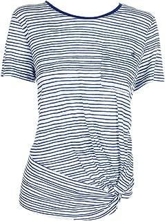 LAUREN RALPH LAUREN Womens Linen Striped T-Shirt
