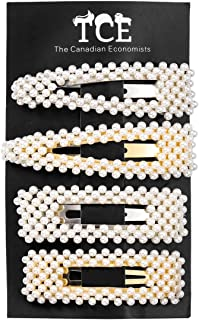 Pearl Hair Clips - 4 Pack - Oversized Barrette for Women and Girls (2 White, 2 Gold)