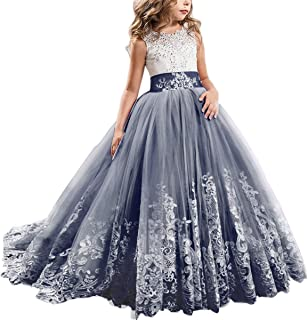 FYMNSI Flowers Girls Applique Tulle Lace Wedding Dress First Communion Birthday Christmas Prom Ball Gown 2-13T