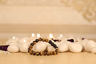 Aatm Natual Healing Gemstone Tiger Eye with 4 Beads Lava with connectore Bracelet (7-8 mm Beads)