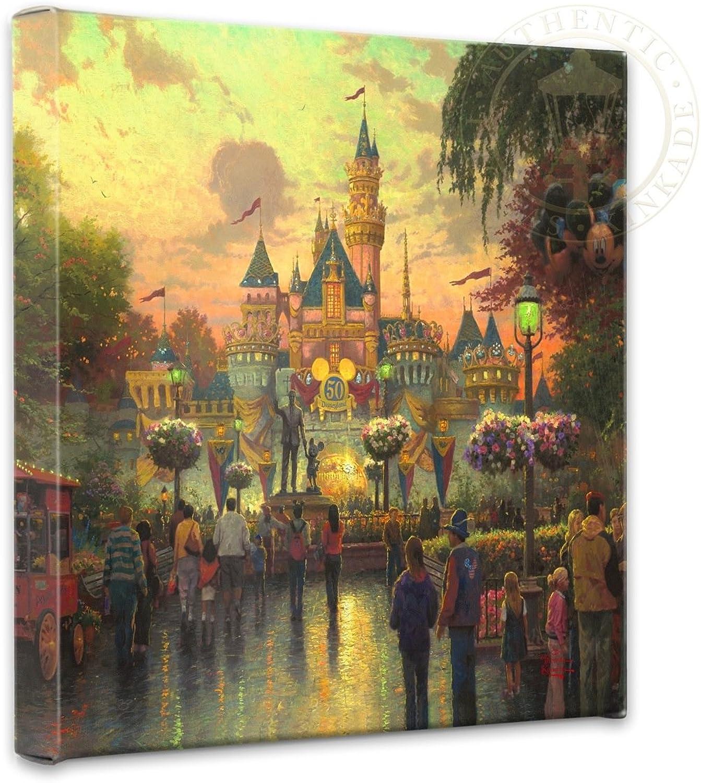 Thomas Kinkade - Gallery Wrapped Canvas , Disneyland 50th Anniversary , 14  x 14  , 55383
