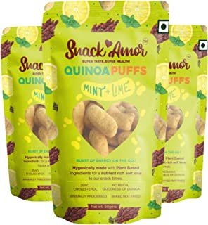 SnackAmor Quinoa Puffs Flavors of Mint & Lime 100% Roasted & Healthy Snack, No Maida, Rich in Protein, 100% Vegetarian Pro...