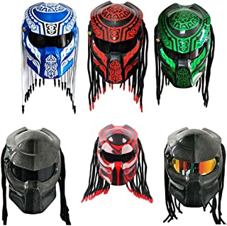 GZ Knight of god Predator Carbon Fiber Motorcycle Helmet Full Face Iron Warrior Man Helmet DOT Safety Certification Black Blue Colorful (black Lens full carbon red K, XXL)